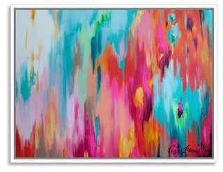 "Kristy Gammill, Multicolor Abstract -40""W x 31""H-White Frame - One Kings Lane"