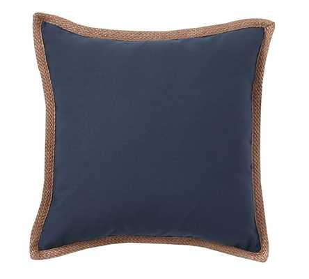 "Synthetic Trim Indoor/Outdoor Pillow - Ink Blue - 20"" Sq. - Polyester insert - Pottery Barn"