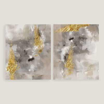 "Touch of Gold I and II Wall Art - Set of 2 - 16""W x 1.5""D x 20""H - Framed - World Market/Cost Plus"