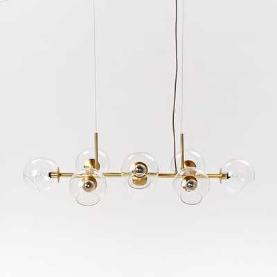 Staggered Glass Chandelier - 8-Light - Antique Brass - West Elm