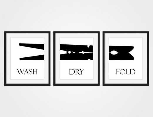 Laundry Room Wall Art Print 'Wash Dry Fold' Black & White Art, Set of 3 - Etsy