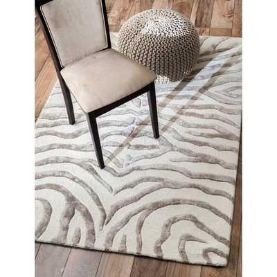 New Zealand Faux/Silk Zebra Rug (5' x 8' ) - Silver - Overstock