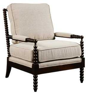 Madrid Turned Post Accent Chair, Wheat - One Kings Lane