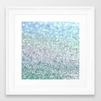 "Blue Mist Snowfall - 12"" X 12"" - framed - Society6"