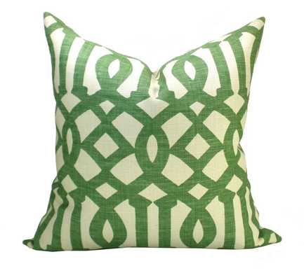 """Schumacher Imperial Trellis pillow cover -Green, ivory- 18"""" x 18""""- Insert Sold Separately - Etsy"""