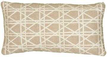 "JIMMAY EMBROIDERED PILLOW - 11""x21""-Natural/Ivory - With Insert - Home Decorators"