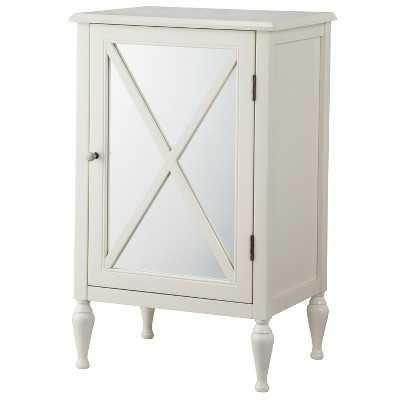 Hollywood Mirrored One Door Accent Cabinet-Dove white - Target