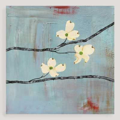 """Dogwood on Blue III"" - 30""W x 30""H - Unframed - World Market/Cost Plus"