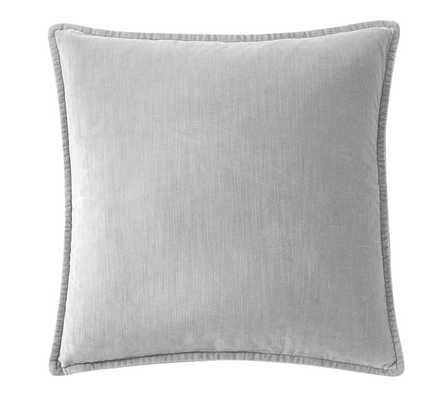 """Washed Velvet Pillow Cover - 20"""" x 20""""- Alloy Gray - No insert. - Pottery Barn"""
