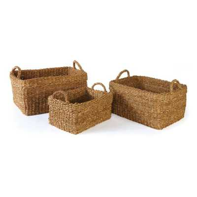 Seagrass Rectangular Baskets w/Cuffs Set of 3 - Domino