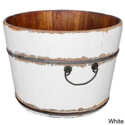 Wooden Rice Bucket - White - Overstock