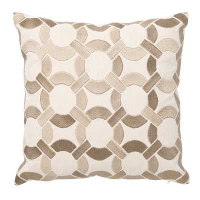 "Embroidered Mod Link Linen 16""Sq Taupe Throw Pillow-Down-filled Insert - AllModern"