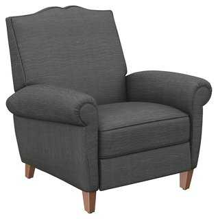 French Club Recliner, Charocal Linen - One Kings Lane