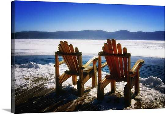 "Two Adirondack Chairs on a Deck in Winter, Lake George, New York Wall Art-36""x24""-Unframed - greatbigcanvas.com"
