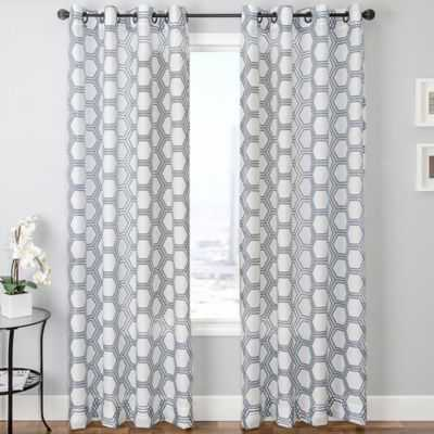 "Taranto Grommet Top Curtain Panel - Blue/White - 96"" - Bed Bath & Beyond"