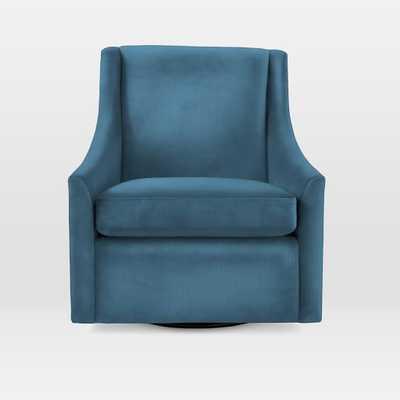 Sweep Swivel Armchair - Luster Velvet, Celestial Blue - West Elm