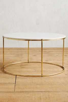 Leavenworth Marble Coffee Table - Brass - Anthropologie