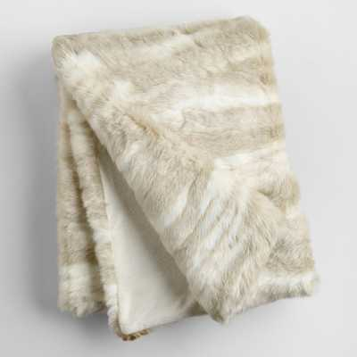 "Ivory Faux Fur Throw - 40"" x 60"" - World Market/Cost Plus"