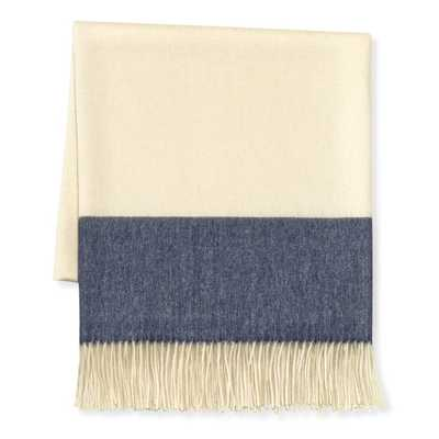 Two Tone Banded Wool Throw, Blue/Navy - Williams Sonoma