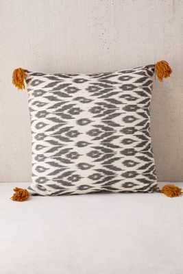 Locust Salaya Ikat Woven Pillow, 18x18- Black-Insert not included - Urban Outfitters