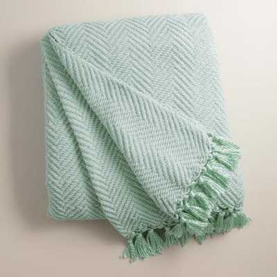 Surf Blue Chunky Chenille Throw - World Market/Cost Plus