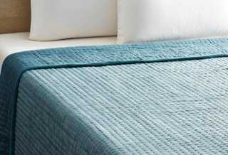 Herringbone Pick Stitch Quilt, Denim - One Kings Lane