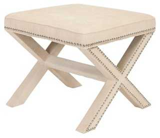 Palmer Ottoman, Cream/Chrome - One Kings Lane