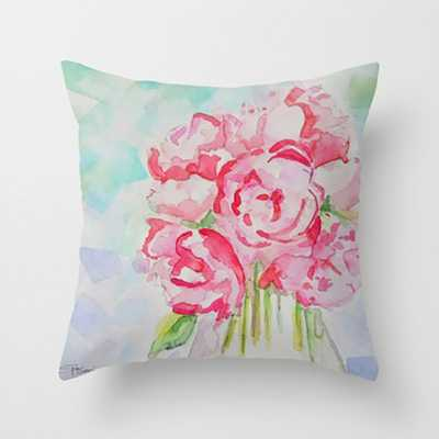 Pink Flower Print Pillow, Pink Fresh Flowers Throw Pillow, Vase of Flowers Cushion, Home Decor - Etsy