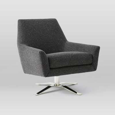 Lucas Swivel Base Chair - Tweed, Asphalt - West Elm
