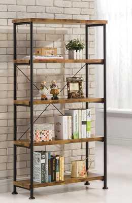 Barritt Antique Nutmeg Wood Metal Bookcase - theclassyhome.com