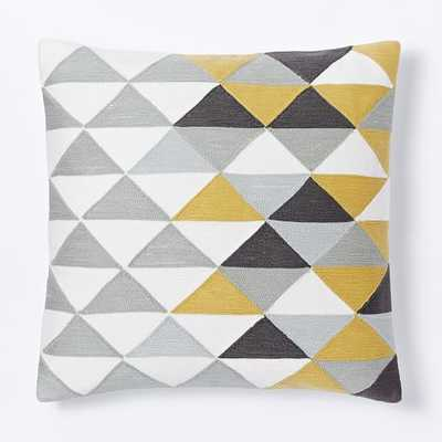 """Optical Triangle Crewel Pillow Cover - Horseradish- 18""""sq.-  Insert sold separately - West Elm"""