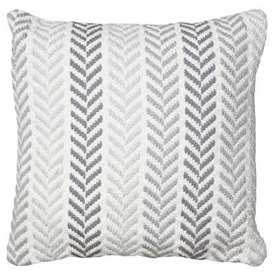 "Chevron Cotton Throw Pillow - Grey - 18"" H x 18"" W x 5"" D - Polyester Insert - Wayfair"