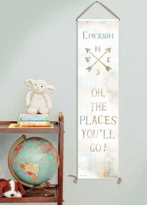 Canvas growth chart with vintage map background - Etsy