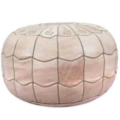 Moroccan Leather Pouf Ottoman - Natural - Wayfair
