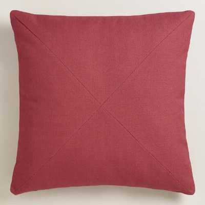 Garnet Red Herringbone Cotton Throw Pillow - World Market/Cost Plus