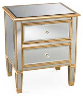 Kate 2-Drawer Mirrored Nightstand, Gold - One Kings Lane