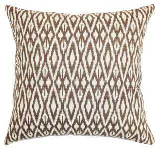 Hafoca Cotton Pillow - 18x18 - Chocolate - Down/feather insert - One Kings Lane