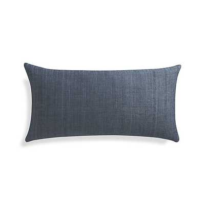 Michaela  Pillow - 24x12 - Dusk Blue - Feather Insert - Crate and Barrel