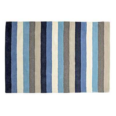 "5"" x 8: Blue Stripe Rug - Land of Nod"