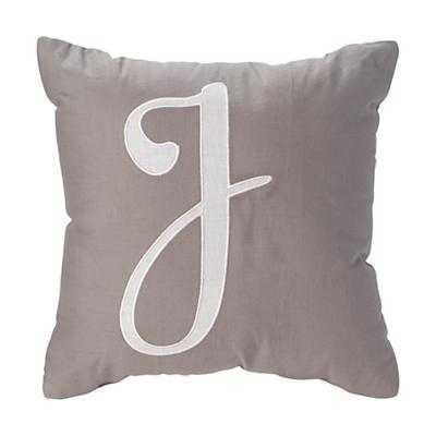 "'J' Typeset Grey Throw Pillow - 14""Wx14""H - Polyester Insert - Land of Nod"