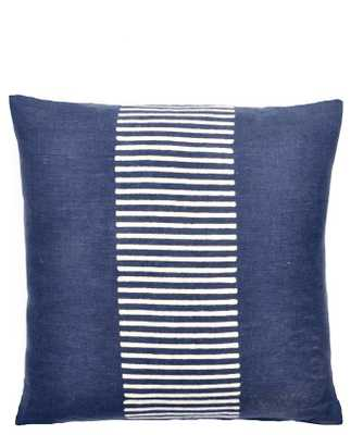 "BLOCK PRINT STRIPE PILLOW-18""SQ-FEATHER INSERT INCLUDED - shop.com"