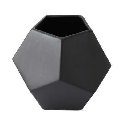 Faceted Black Vase - AllModern