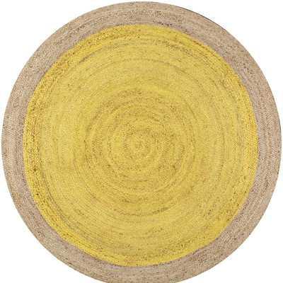 Eleonora Hand-Woven Yellow Area Rug - Round 6' - Wayfair