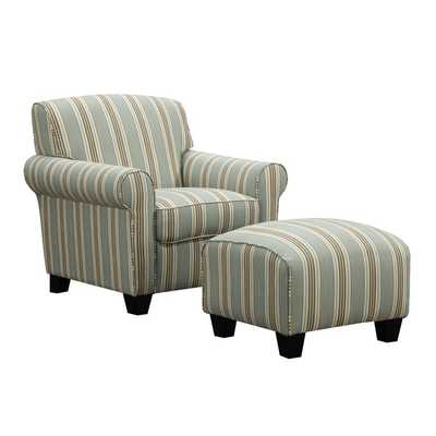 Portfolio Mira Summer Aqua Blue Stripe Arm Chair and Ottoman - Overstock