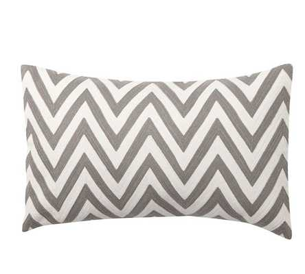 CHEVRON EMBROIDERED LUMBAR PILLOW COVER - Pottery Barn