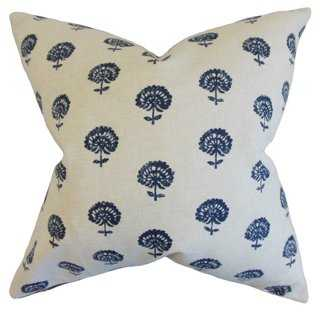 Flora 18x18 Pillow, Indigo - Feather/down indert - One Kings Lane