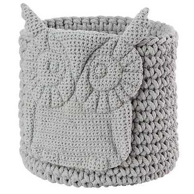 Wee Woodland Crochet Bin (Grey Owl) - Land of Nod
