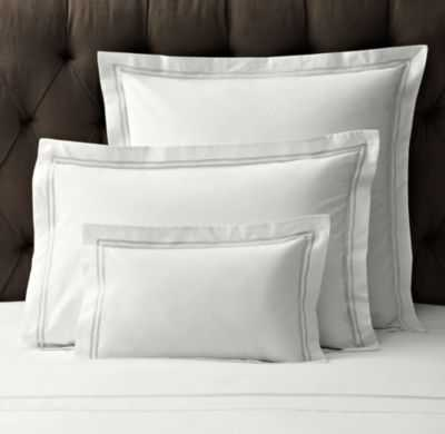 ITALIAN HOTEL SATIN STITCH WHITE SHAM-King - RH