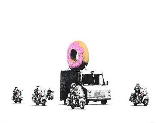 "Banksy Print - Donut Pink -18"" x 24""-Unframed - Etsy"