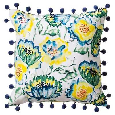 """Floral Print with Pom-Pom Pillow Blue - 18""""sq. - Polyester fill - Target"""